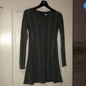 Gray, black and white knit long sleeve dress